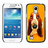 MOVEWAY Not For S4 i9500 Smartphone Case Back Lovely Dog Picture Image Black Edge Cover For SAMSUNG GALAXY S4 MINI i9195 basset hound  pendant ear dog