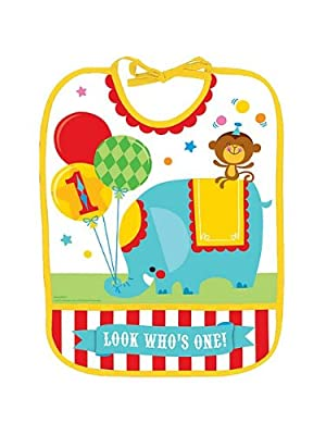 Fisher Price Circus 1st Birthday Vinyl Baby Bib First Lion Monkey Party Supplies