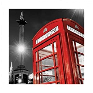 poster de londres avec une cabine t l phonique anglaise rouge et trafalgar square deco londres. Black Bedroom Furniture Sets. Home Design Ideas