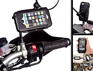 Powered Scooter Motorcycle Bike Mirror Mount with Waterproof Tough Case for Apple iPhone 5
