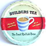 Builders Tea Round Tin Tray by Martin Wiscombe