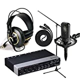 Audio Technica AT4040 with Steinberg UR44 6x4 Audio Interface, AKG K240 Studio - Professional Studio headphones, On Stage Boom Mic Stand, LyxPro 25' Black Quad Cable XLR M/F