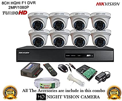 Hikvision-DS-7208HQHI-E1-8CH-Dvr,-8(DS-2CE56DOT-IRP)-Dome-Cameras-(With-Mouse,-Remote,-1TB-HDD,-Bnc&Dc-Connectors,Power-Supply,Cable)