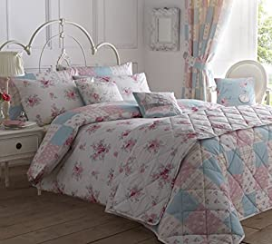 White Pink Blue Floral Patchwork 66x72 Pencil Pleat Thermal Lined Curtain Drapes by Curtains