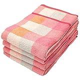 Amazon.co.jpオーガニックコットン オーガニックルフランチェックバスタオル(約60×120cm)ピンク 同色4枚セット
