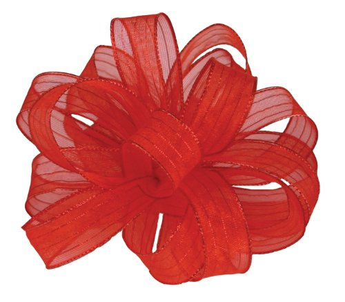 Offray Monofilament Edge Flair Sheer Craft Ribbon, 5/8-Inch Wide by 15-Yard Spool, Red