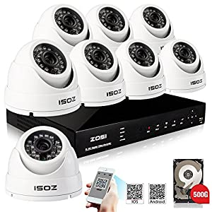 ZOSI 8Channel H.264 Network CCTV DVR Outdoor 800TVL Video Home Security Surveillance IR Cut Day Night Camera System 500GB Hard Drive Mobile View
