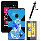 MINITURTLE, Dual Layer Tough Skin Dynamic Hybrid Hard Phone Case Cover, Clear Screen Protector Film, and Stylus Pen for Windows Smart Phone 8 Nokia Lumia 521 /T Mobile /MetroPCS (Classy Cat)