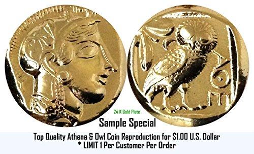 OFFRE SPÉCIALE... Athena & Owl (12 G), Premium pièce Reproduction pour (1) Dollar américain. Une (1) pièce par limite de client. Percy Jackson Fans.