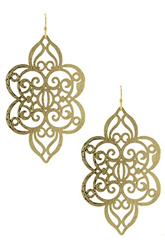 Karmas Canvas Exotic Etched Filigree Floral Dangle Earring (Gold) front-1069009