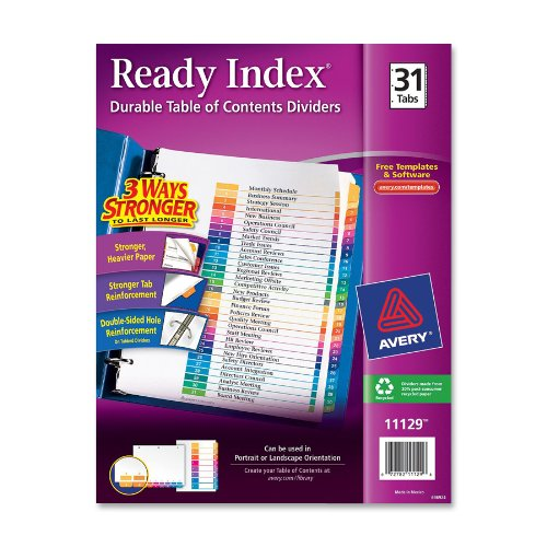 Avery Ready Index Table of Contents Dividers, 31-Tab, Multi-Color, 1 Set (11129)