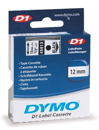 DYMO White Tape/ Black Print 1/2 Inch x 23 feet, D1 Style Cartridge (45013)