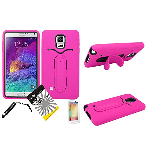 4 Items Combo: Ituffy(Tm) Lcd Screen Protector Film + Stylus Pen + Case Opener + Dual Layer Metalic Flexible Kickstand Tuff Impact Armor Hybrid Soft Silicone Cover Hard Snap On Plastic Case With Id Card Slot For Samsung Galaxy Note 4 (All Carriers) (Flex