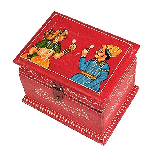Christmas Gifts Royal Hand Painted Treasure Chest Wooden Keepsake Storage Box Jewelry Organizer, Rajasthani King And Queen Picture - 8 X 6 Inches front-1009019