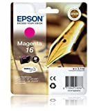 Epson 16 Original Magenta Ink Cartridge (Pen & Crossword) for Epson WorkForce Printers WF 2010W, WF 2510WF, WF 2520NF, WF 2530WF, WF 2540WF.