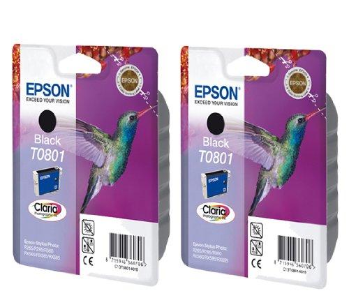 2 T0801 Original Printer Ink Cartridges - For use with Epson Stylus Photo P50 PX650 PX660 PX700W PX710W PX720WD PX800FW PX810FW PX810W PX820FWD PX830FWD R265 R285 R360 RX560 RX580 RX585 RX685 - Black