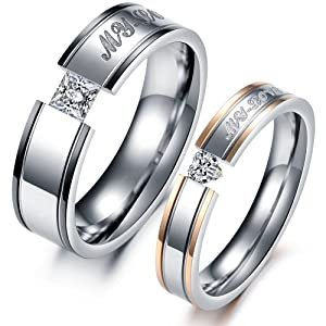 """Geminis Fashion Jewelry """"My Love"""" Inlay Rhinestone Stainless Steel Wedding Band/Anniversary/Engagement/Promise Couple Ring(With Gift Box) from Geminis.Goods"""