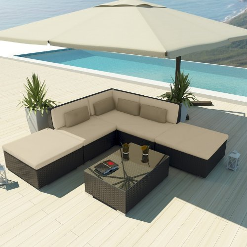 Uduka Outdoor Sectional Patio Furniture Espresso Brown Wicker Sofa Set Porto 6 Light Beige All Weather Couch picture