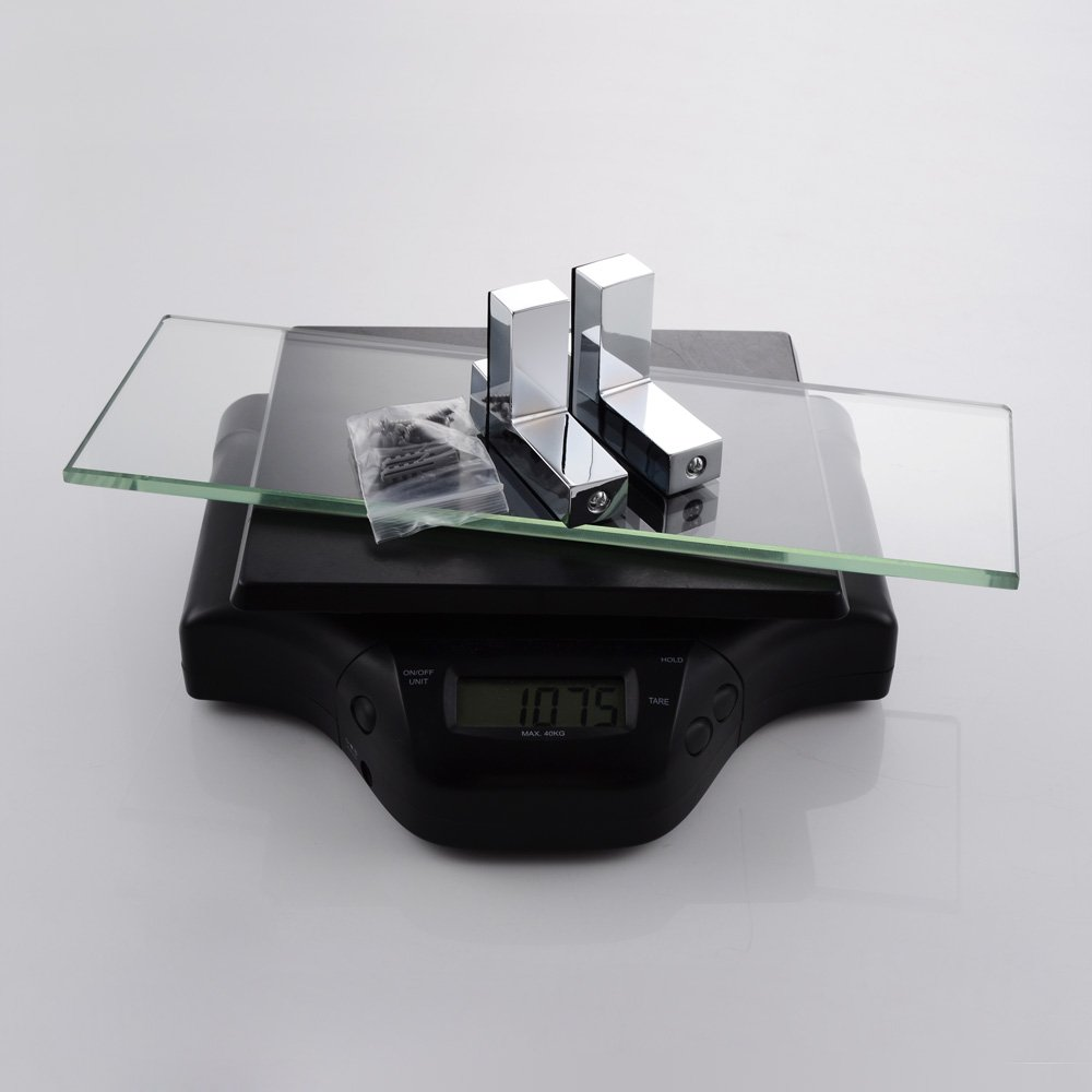 "KES Bathroom Tempered Glass Shelf 14"" 8MM-Thick Wall Mount Rectangular, Polished Chrome Bracket, BGS3201S35"