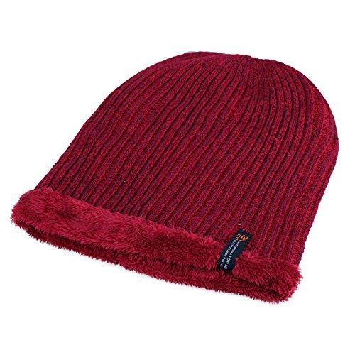 FQG*uomini maglia Hat marea cappuccio maglia tappo di testa di tappi per orecchie Baotou caldo inverno hat man's Hat , rosso