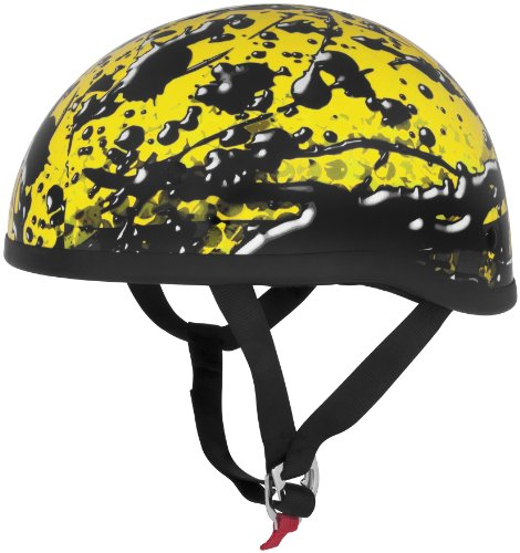 Skid Lid Helmets Original Oil Spill Helmet , Distinct Name: Oil Spill Yellow, Gender: Mens/Unisex, Helmet Category: Street, Helmet Type: Half Helmets, Primary Color: Yellow, Size: Lg 646983