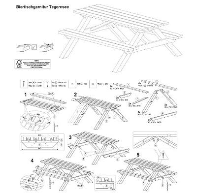 Picknicktisch aus Holz / Biergartengarnitur Tegernsee von Gartenpirat® von J. Sedlmayr GmbH - Gartenmöbel von Du und Dein Garten