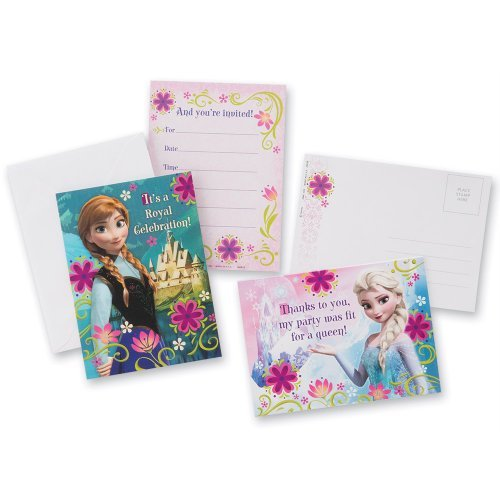 Disney Frozen Invitations & Thank-you Cards - Birthday Party Supplies - 8 each per Pack - 1
