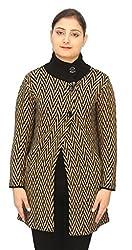 Romano Basic Brown 100% Wool Long Length Warm Winter Sweater Cardigan For Women