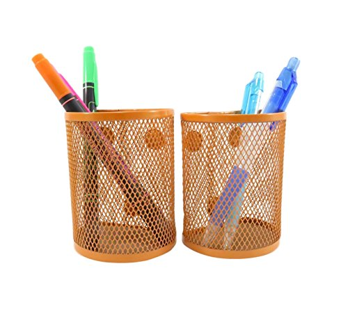 Half Moon Mesh Wire Pen Pencil Holder Magnetic 3 3/4 x 2 7/8 Neon Orange (Set of 2)