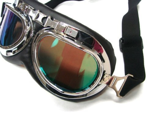 Oumers TMS WWII Raf Vintage Goggles, Aviator Pilot Style Motorcycle Cruiser Scooter Goggle, Bike Caf¨¦ Racer Cruiser Touring Half Helmet Goggles, Cool MTB Bicycle Summer Winter Snowboard Windproof glasses 2