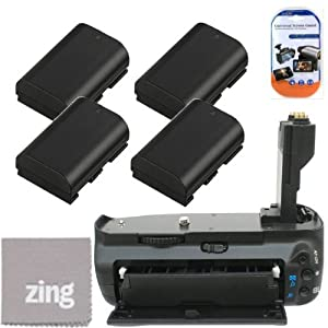Battery Grip Kit for Canon EOS 7D Digital SLR Camera Includes Qty 4 Replacement LP-E6 Batteries + Vertical Battery Grip + More!!