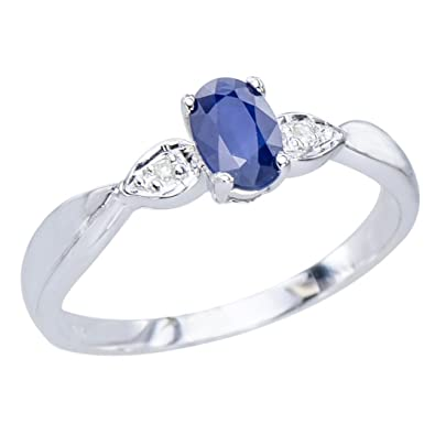 GemsLovers 9K White Gold Genuine Blue Sapphire Womens Ring - September Birthstone