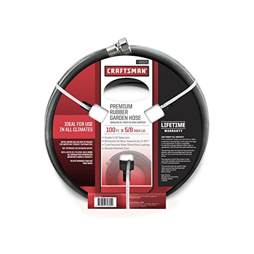 Craftsman Premium Rubber Garden Hose, 100ft. X 5/8. Inch (Black Rubber Garden Hose compare prices)