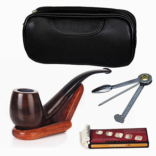 FeelGlad-Ebony-Smoking-Pipe-with-10-Filter-Element-Scraper-High-Grade-Pipe-Pouches