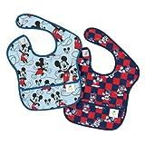 Bumkins Disney Baby Waterproof Super Bib, Mickey Checkered, 6-24 Months, 2 Count