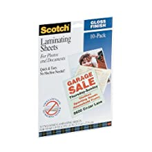 Scotch® Self-Sealing Laminating Pouches LS854-10G, Gloss Finish, Letter Size (Pack of 10)