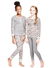 2 Pack Pure Cotton Spotted & Striped Pyjamas