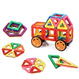 ColorGo マグブロック 図形つみき 磁石積み木 車輪 2個(50ピース)子供 知育玩具 誕生日お祝いプレゼント