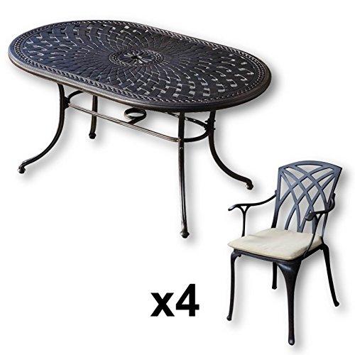 Lazy-Susan-JUNE-150-x-95-cm-Ovaler-Gartentisch-mit-4-Sthlen-Gartenmbel-Set-aus-Metall-Antik-Bronze-APRIL-Sthle-Beige-Kissen