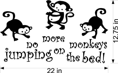 no more monkeys jumping on the bed wall decal funk this. Black Bedroom Furniture Sets. Home Design Ideas