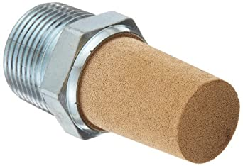 "Parker EM100 EM Series Sintered Bronze Muffler/Filter, 1"" NPT Male, 1-5/16"" Hex Size, 250 psi"