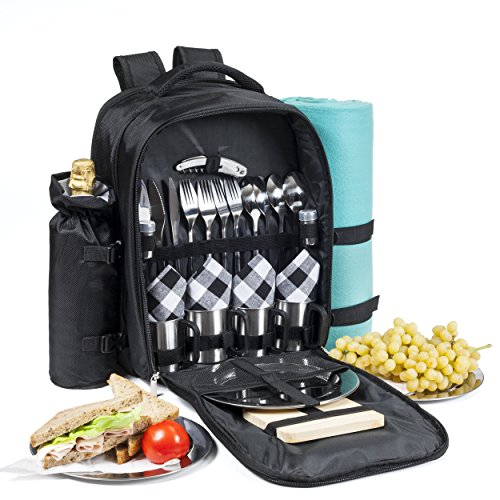 Picnic Backpack for 4 - All-In-One Set includes Premium Stainless Steel Tableware, Cheese Board, Wine Opener, Insulated Food & Wine Cooler Bag Compartments, Fleece Blanket and more - by Savvy Glamping