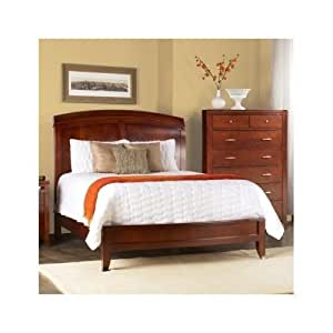 Full size mahogany and cherry wood sleigh bed for Bedroom furniture amazon