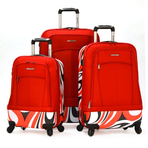 Olympia Luggage Kauai 3 Piece Hybrid Set, Red, One Size special offers