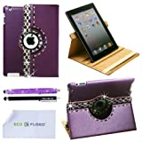 *BLING* 360 Rotating iPad 3 Purple Leather Case with (Black Silver White) Sparkling Rhinstone Details / One (Purple)*BLING* Stylus / One (Black) Stylus – ECO-FUSED® Microfiber Cleaning Cloth 5.5×3.0″ included – compatible with iPad 2 and iPad 3 (Black Silver White Rhinestones)
