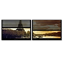 Trademark Fine Art Window View Paris at Sunset 4 by Philippe Hugonnard 2 Panel Set, 22 x 32\