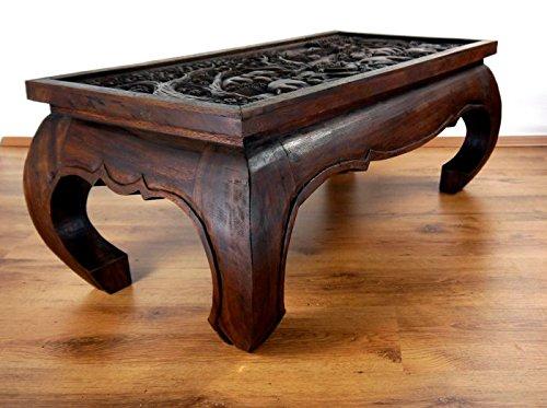 Opiumtisch 100x50x40cm in mahagonibraun mit Schnitzerei. Beistelltisch aus Asien. Asiatisches Möbelstuck. Asiatischer Couchtisch aus Massivholz. Echter Massivholztisch im Kolonialmöbelstil. Holzelefanten, Elefanten aus Holz Motiv