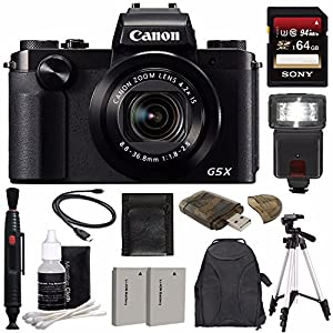 Canon PowerShot G5 X Digital Camera + Extra Battery + 64GB + Large Gadget Backpack + Memory Card Wallet + Card Reader + Tripod + Flash Bundle