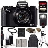 Canon PowerShot G5 X Digital Camera + Extra Battery + 64GB + Large Gadget Backpack + Memory Card Wallet + Card Reader + Tripod + Flash Bundle