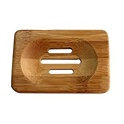 Labara Natural Bamboo Wood Soap Dish Storage Holder Bath Shower Plate Bathroom (2pcs)